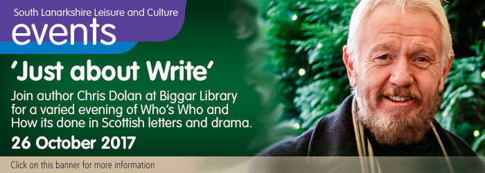"Chris Dolan's ""Just about Write"" at Biggar Library"