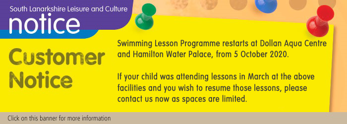 Group Swimming Lessons Restart at Dollan Aqua Centre and Hamilton Water Palace 5 October 2020 Slider image