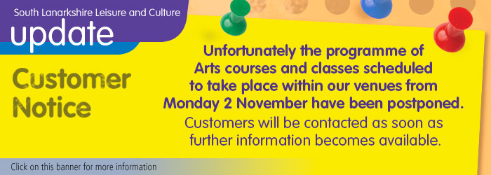 Arts courses and classes postponed