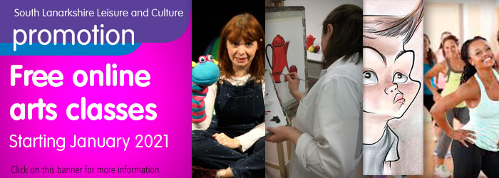 Free Online Arts Classes 11 January - 22 February 2021 Slider image